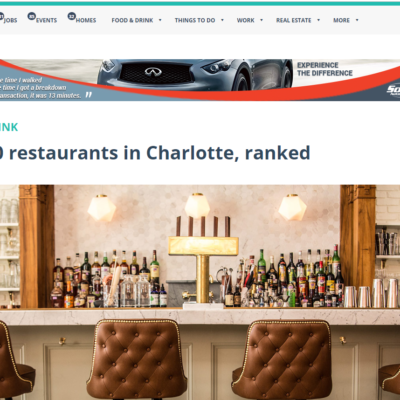Charlotte Agenda Ranks the Asbury in the Top 20 Restaurants to Eat at in Charlotte