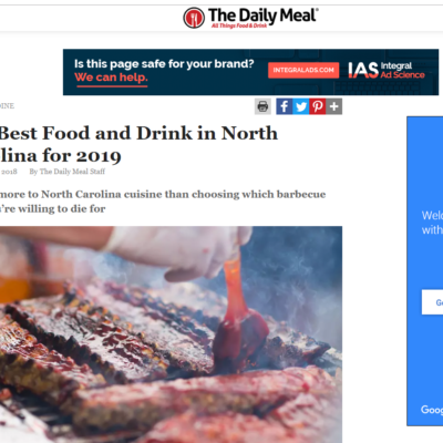 "The Daily Meal Awards the Asbury the Title of Nc's ""Best Hotel Restaurant"" in 2019"