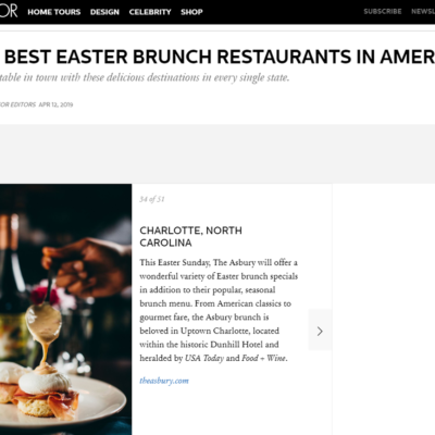 "Elle Decor: ""Best Table in Town"" for Easter Brunch"