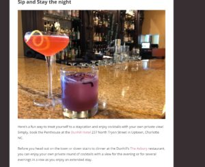 Heidi Billotto's article, featuring cocktails with a view