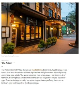 Screenshot of the Asbury mention in Conde Nast