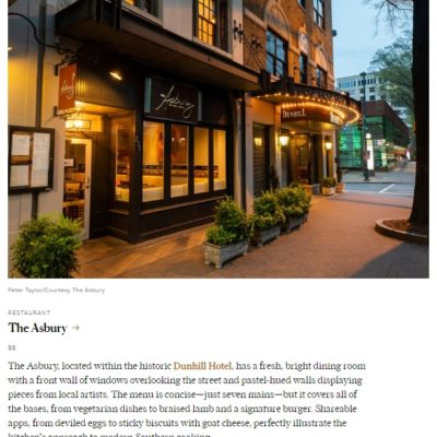 Condé Nast Names Asbury/Dunhill Amongst the Best Restaurants and Hotels in Charlotte