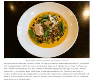 A screenshot from the blog post featuring The Asbury's pumpkin and chili bisque alongside text from the article