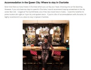 A screenshot from the article featuring written text above Oneika the Traveler at the bar inside the Dunhill.